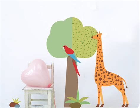 childrens wall stickers tree children s giraffe and tree wall sticker set