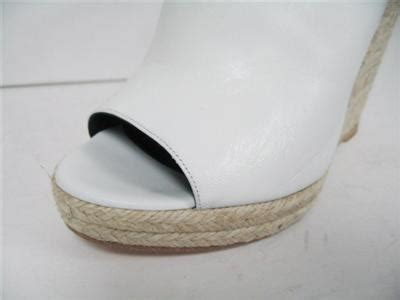 Auth White Wedge Sandals By auth balenciaga white leather glove curve espadrille wedge
