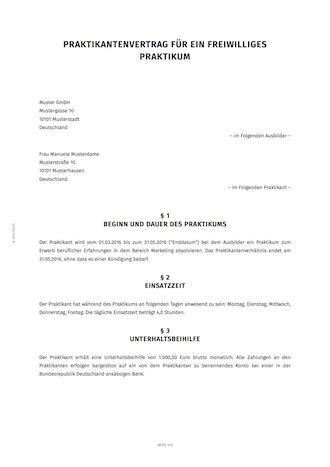 Muster Praktikumsvertrag Praktikumsvertrag Erstellen Smartlaw