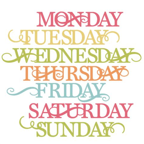 days of the week svg cut files for scrapbooking cardmaking