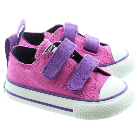 converse chuck all 2 velcro ox shoes in pink