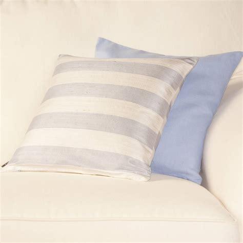 striped lilac grey silk cushion cover by jodie