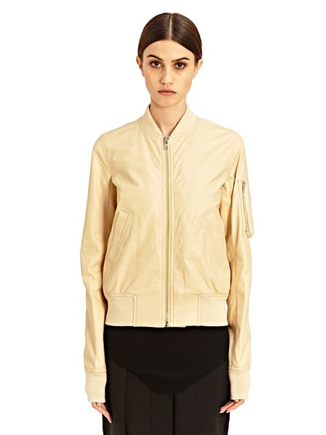 Couture Bomber Jacket For Cold Weather Season by Lyst Rick Owens Womens Leather Flight Bomber Jacket In Brown