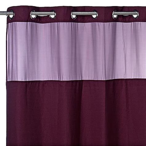 bed bath and beyond shower curtain liners hookless 174 waffle plum 71 quot x 74 quot fabric shower curtain and