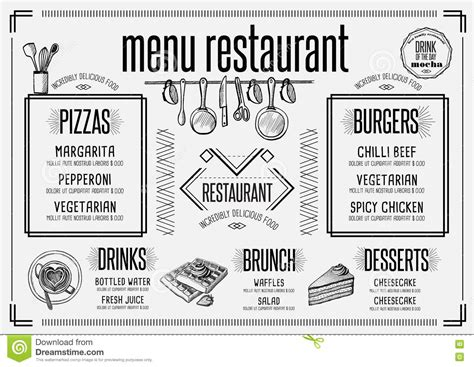 Menu Restaurant Food Template Placemat Cartoon Vector Cartoondealer Com 78249471 Placemat Menu Templates