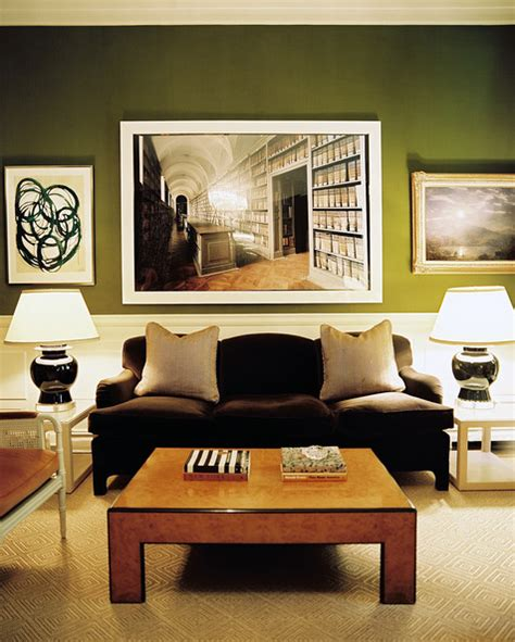 Green Walls Living Room by Green Walls Brown Home Design