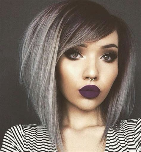 black grey hair black dark fashion grey hair make up piercing style