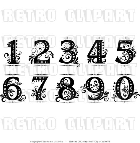 nice tattoo number fonts old cursive numbers fancy numbers clip art drawing