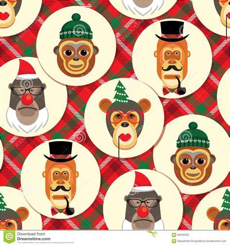 new year monkey element vector illustration of monkeys symbol of 2016 seamless