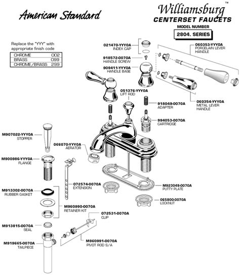 American Standard Kitchen Faucet Parts Diagram by American Standard Bathroom Faucets Replacement Parts