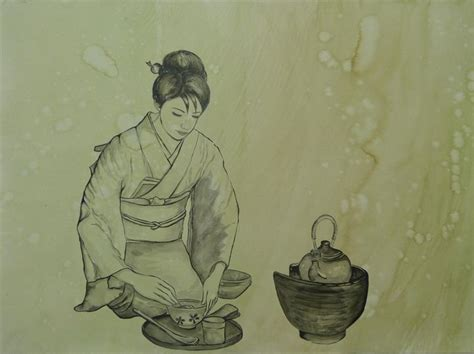 I M Drawing In Japanese by Japanese Tea Kazuko Newman Drawings