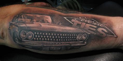 hot rod tattoo black and grey rod car arm by jon glahn