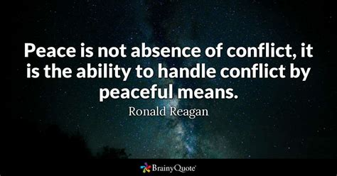 ronald reagan peace   absence  conflict