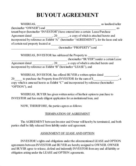 Home Buyout Agreement Template Sle Real Estate Agreement Form 8 Free Documents In Pdf