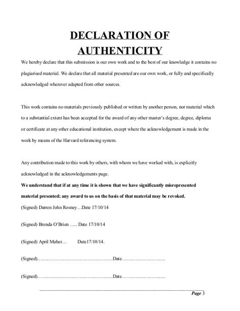 Statement Of Authenticity Thesis by Declaration Of Authenticity Master Thesis Term Paper