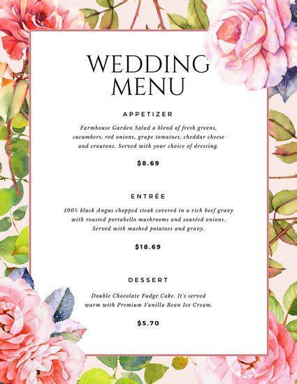 menu layout science customize 257 wedding menu templates online canva