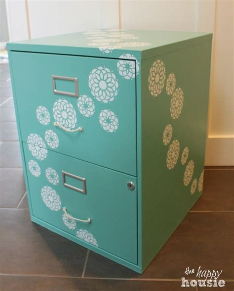 painting a file cabinet one bliss fully flowered chalk painted stencilled filing
