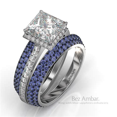 Wedding Rings Sapphire by Silvet Blaze Engagement Ring Set Blue Sapphire Bookends