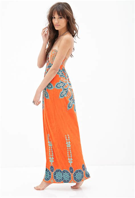 forever 21 strapless printed maxi dress in orange lyst
