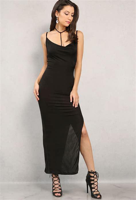 Strappy Slit Maxi Dress strappy side slit cowl neck maxi dress shop at papaya