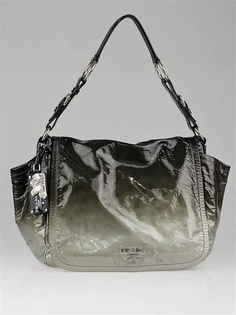 Prada Ombre Patent Leather Tote by Prada Grey Ombre Patent Leather Flap Shoulder Bag Yoogi