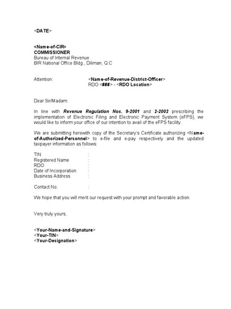 Request Letter Sle For Bir Sle Template Efps Letter Of Intent And