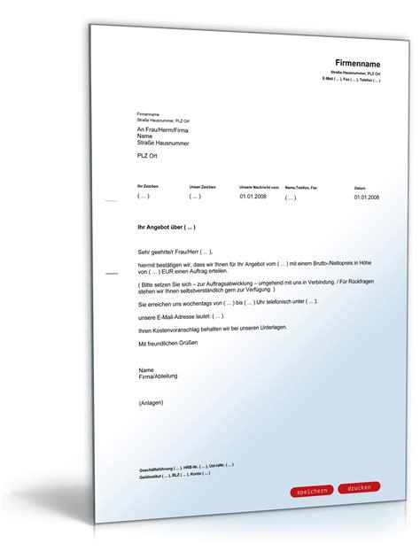 Kaufvertrag Auto Im Auftrag by Auftragserteilung Zusage F 252 R Ein Angebot