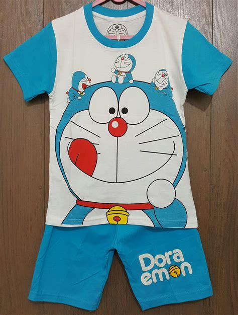 setelan doraemon mini white 1 6 grosir baju anak