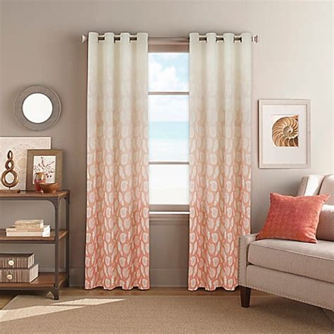 coral window curtains seascape grommet top window curtain panel in coral bed