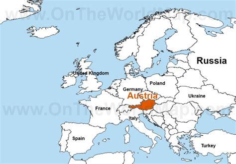 austria on the world map austria map world