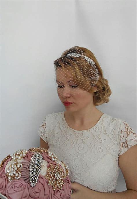Wedding Hair With Birdcage Veil by Birdcage Veil Headband Blusher Birdcage Veil Wedding