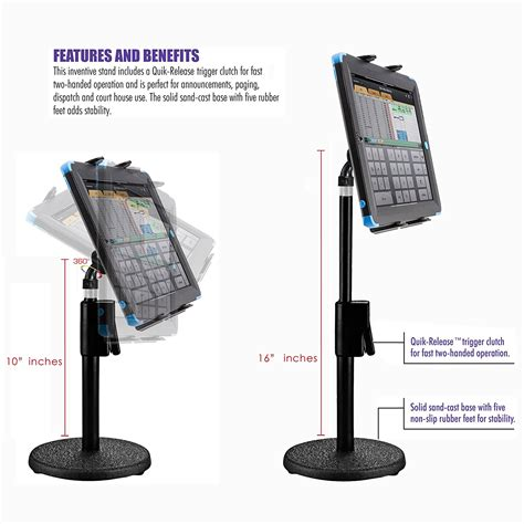 Stand Holder For Tablet 7 chargercity 360 176 rotate tablet holder podium stand mount w