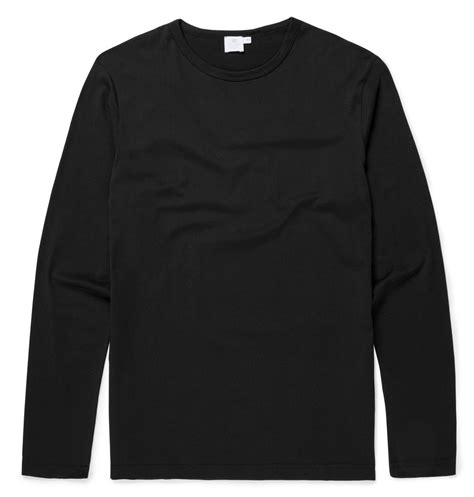 Sleeve T Shirt s cotton sleeve t shirt in black sunspel