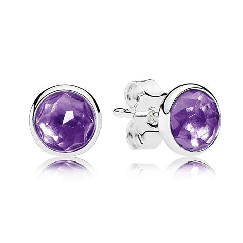 pandora birthstone pandora february birthstone amethyst droplet earrings