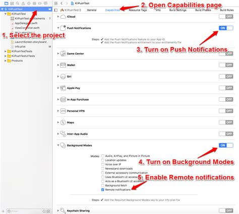 xcode tutorial notification configure the project in xcode
