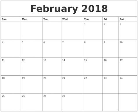 printable calendar february 2018 february 2018 calendar printable template usa canada uk