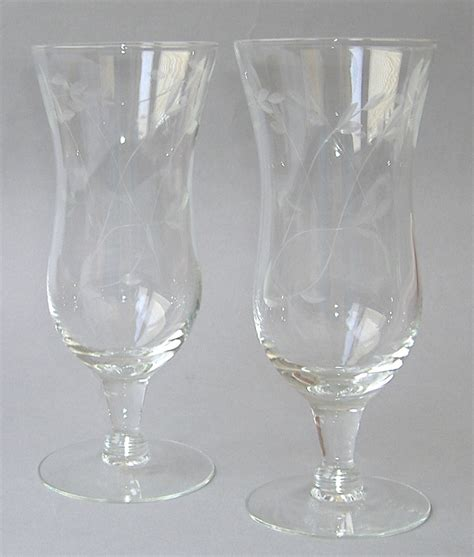 princess house com 2 princess house heritage parfait handblown crystal cut glass floral glassware