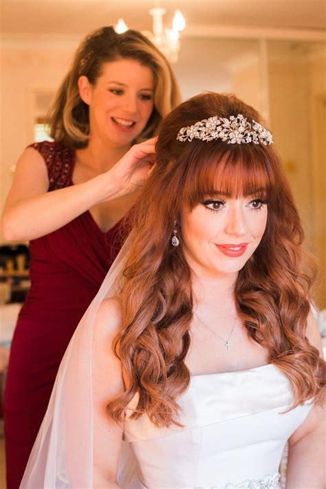 rustic whimsical autumn wedding hair bridal hair wedding bangs bridal hair tiara
