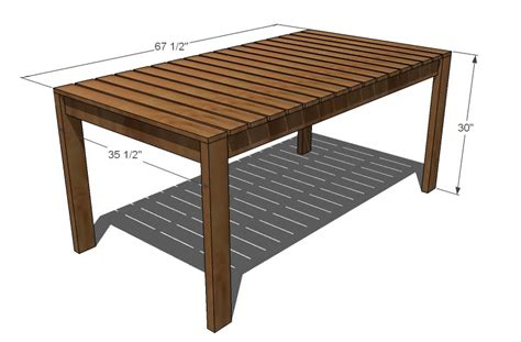 Wooden Patio Table Plans White Simple Outdoor Dining Table Diy Projects