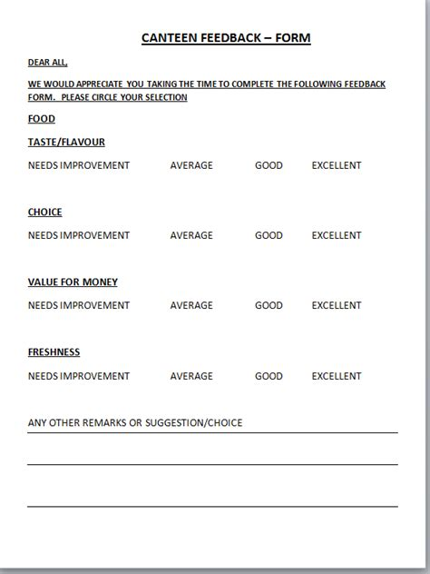 every bit of life canteen feedback form format with