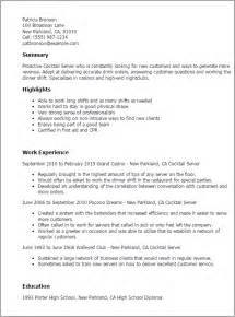 Resume Templates For Waitress by Resume Templates Cocktail Server Work Experience Cocktail Waitress Responsibilities For Resume