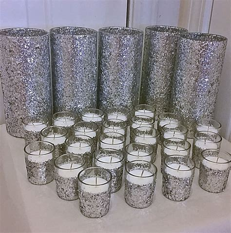 silver centerpieces for table 5 vases and 25 candles silver wedding centerpiece table
