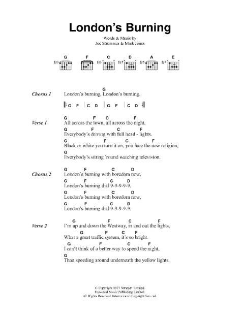 burning house printable lyrics london s burning sheet music direct