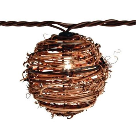 10 Light Clear Natural Rattan Ball String Light Set Rattan String Lights