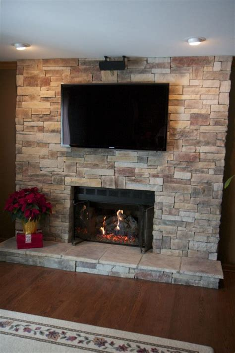 ledge fireplace with tv located in lake zurich