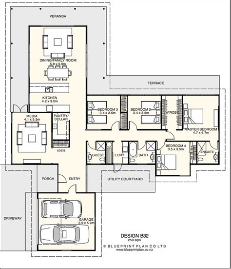 t shaped plan with four bedrooms house plans