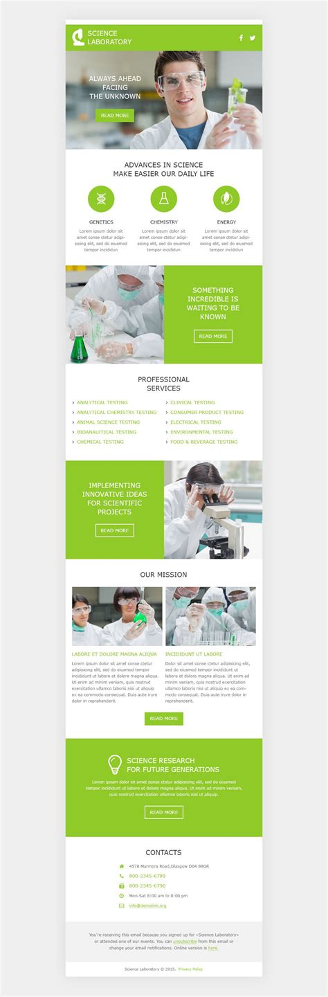 science lab responsive newsletter template 53103