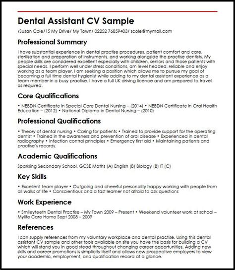 Sample Resume Objectives For Any Job by Dental Assistant Myperfectcv