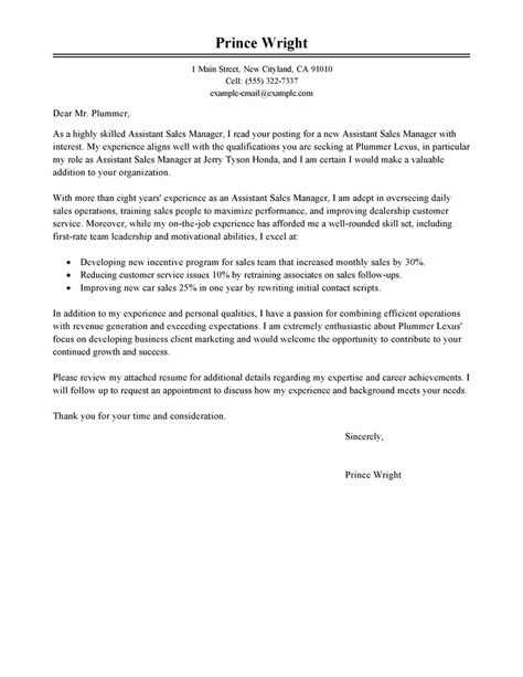 Automotive Parts Manager Cover Letter by Cover Letter Exles For Parts Manager Cover Letter Templates