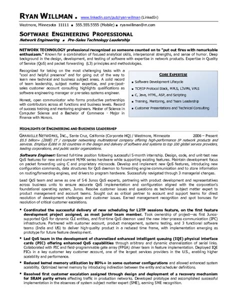 Professional Engineer Resume by Resume Sle 19 Software Engineering Professional